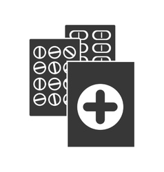 Monochrome silhouette with first aid kit and pills vector