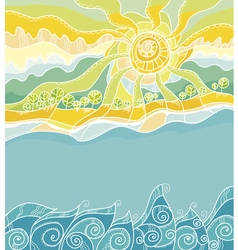 Decorative of summer sea shore vector