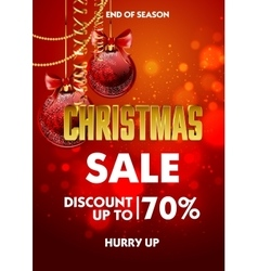 Christmas sale design poster template with shiny vector image