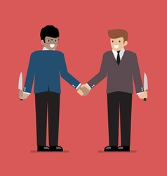 Businessmen hiding the knife for betrayal or back vector