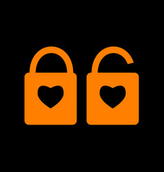 Lock sign with heart shape a simple silhouette of vector
