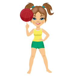 Little girl spinning basketball ball with finger vector
