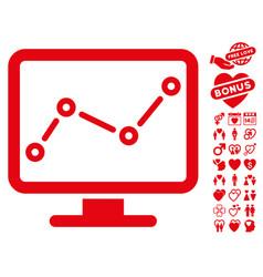 trend monitoring icon with valentine bonus vector image