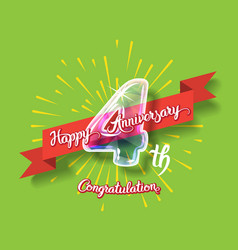 Happy 4th anniversary glass bulb numbers set vector