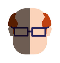 Man face with hairstyle and glasses vector