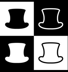 Top hat sign  black and white icons and vector