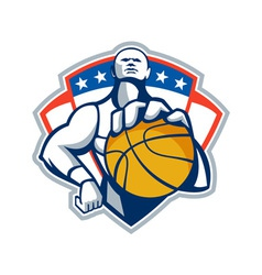 Basketball player holding ball crest retro vector