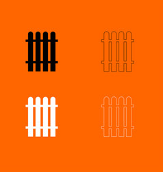 Fence black and white set icon vector
