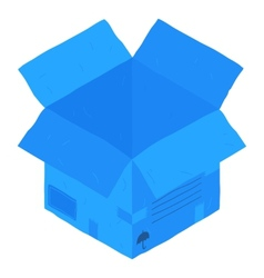 Open blue isometric carton package box vector