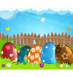 Colorful easter eggs near a wooden fence in the vector