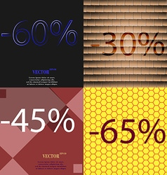 30 45 65 icon set of percent discount on abstract vector