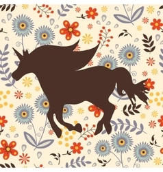 Beautiful silhouette horse on a floral background vector