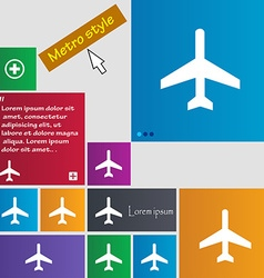 Airplane icon sign buttons modern interface vector