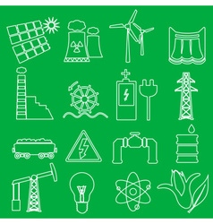 Electricity and enegry symbol outline icons set vector