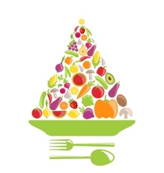 Pyramid of vegetables and fruits vector