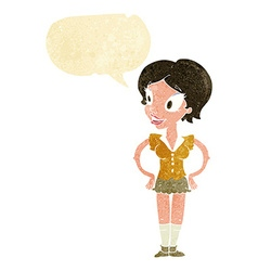 Cartoon happy woman in short skirt with speech vector