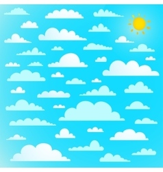 Clouds collection on blue sky with sun vector image