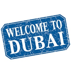 Welcome to dubai blue square grunge stamp vector