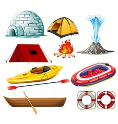 Different objects for camping and hiking vector