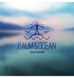 Logo of palm and waves vector