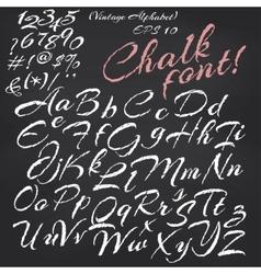 Alphabet chalk font on blackboard vector