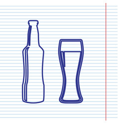 Beer bottle sign navy line icon on vector