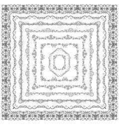 Black Vintage Hand Drawn Square Frames vector image