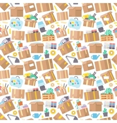 Carrying boxes seamless pattern warehouse shipping vector