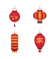 Cartoon color japanese paper lantern set vector