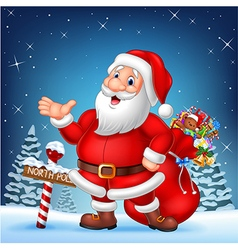 Cartoon funny santa presenting with a north pole vector