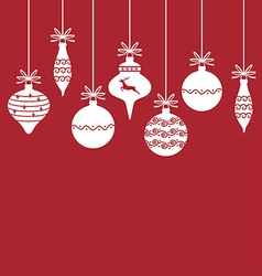 christmas baubles back vector image vector image