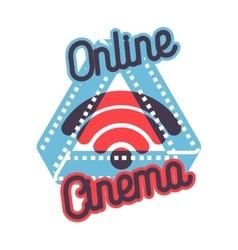 Color vintage online cinema emblem vector image