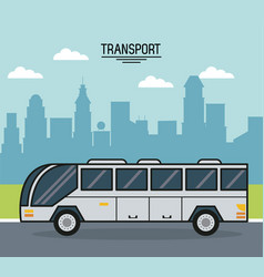 Colorful poster of transport with bus on the vector