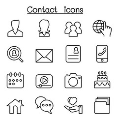 contact icons set for social network in thin line vector image vector image