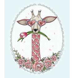 Cute hipster giraffe background vector image