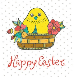 Easter card with chicken and flowers vector image vector image