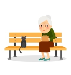 Elderly woman and cat sitting on park bench vector