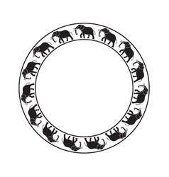 Elephants circle ornament-03 vector