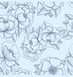 flowers hand drawing seamless pattern vector image vector image
