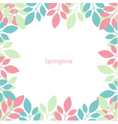 frame of multicolored leaves springtime isolated vector image vector image