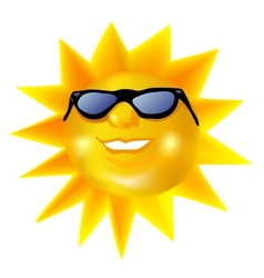Funky fashionable sun wearing spectacles vector image vector image