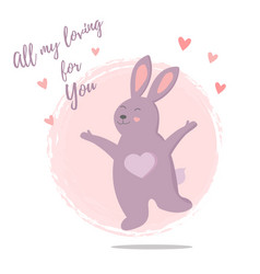 funny jumping rabbit in love vector image