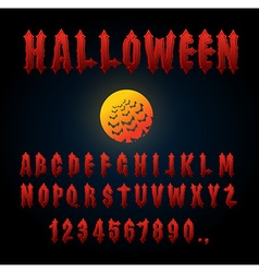 Halloween font ancient alphabet blood gothic vector