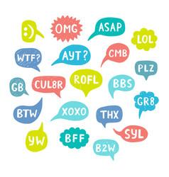 hand drawn internet acronyms vector image
