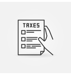 Hand holding tax form vector image