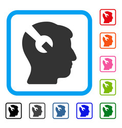head surgery wrench framed icon vector image vector image
