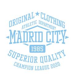 madrid city sport t-shirt design vector image