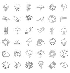 meteorology icons set outline style vector image