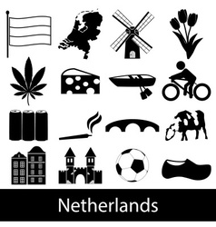 Netherlands country theme symbols icons set eps10 vector