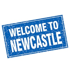 Newcastle blue square grunge welcome to stamp vector